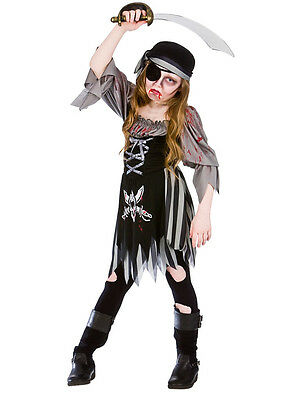 Kids Zombie Bloody Ghost Pirate Halloween Age 5-13 Girls Fancy Dress Costume New