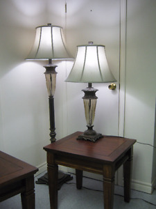 Pair of matching Floor and Table lamps