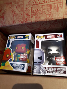 Exclusive Marvel Collector Corps Iron Man and Vision Funko Pop