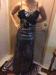Black and Silver  Prom Dress - Size 6-8