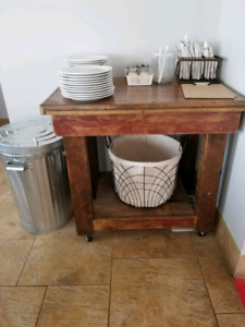 Custom Made Wood Side Table/ Roll Up Bar