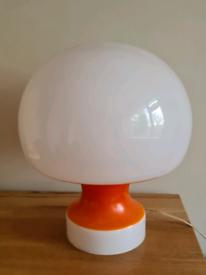 Vintage 1960s Orange & White Opaline Mushroom Lamp