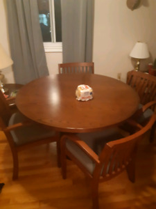 Real wood dining room table and chairs