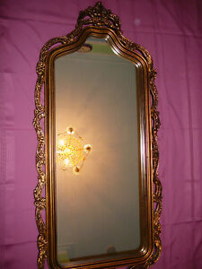 "Superbe miroir antique/1940, style Louis XVI, grand 27""x60"" doré West Island Greater Montréal image 2"