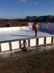 Outdoor rink boards with gate and screening