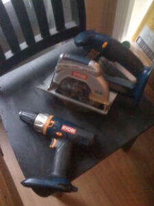 18 V Ryobi Skill saw and drill w charger