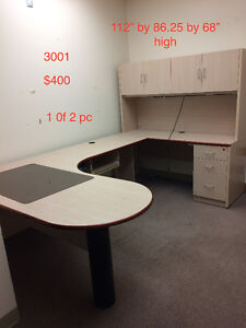 Off white Ushaped Workstation with matching credenza