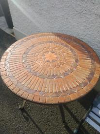 Old Sunflower Tiled Top Garden Table Cast Iron Base