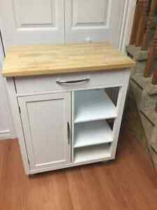 White bucherblock top kitchen cart-Cochrane