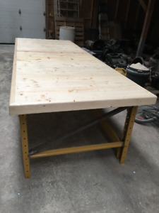 TWO WORKSHOP TABLES