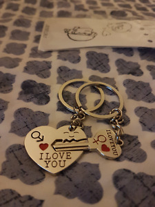Matching key chain lock for cute couples gift