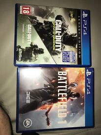 PS4 battlefield one and call of duty legacy edition