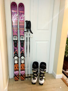Junior skis, boots and poles