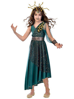 Child Girls Medusa New Fancy Dress Costume Halloween Kids Greek Roman Goddess