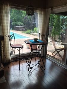 Wood/Wrought Iron Pub Table &Chairs