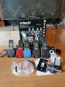 Vtech 5 cordless phone set w answering machine /wireless headset