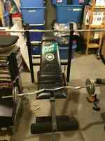 Weight Bench includes 2 Bars and 90lbs of Weights