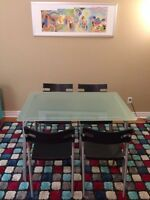 Beautiful Ikea Glass Table with Four Chairs/ Free Delivery