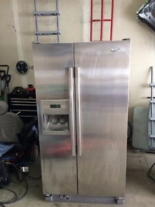 """whirlpool stainless steel 36"""" side by side w water/ice"""
