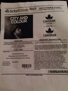 City And Colour Ticket