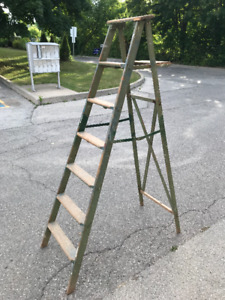 VINTAGE TALL WOODEN STEP LADDER 6 FEET 4 INCHES TALL