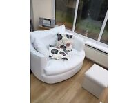 Full White Leather swivel Cuddler Sofa & Pooffee with storage