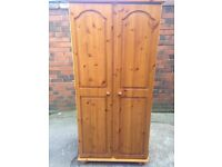 New solid pine wardrobe shop display never been used good condition only £100 good bargain call now