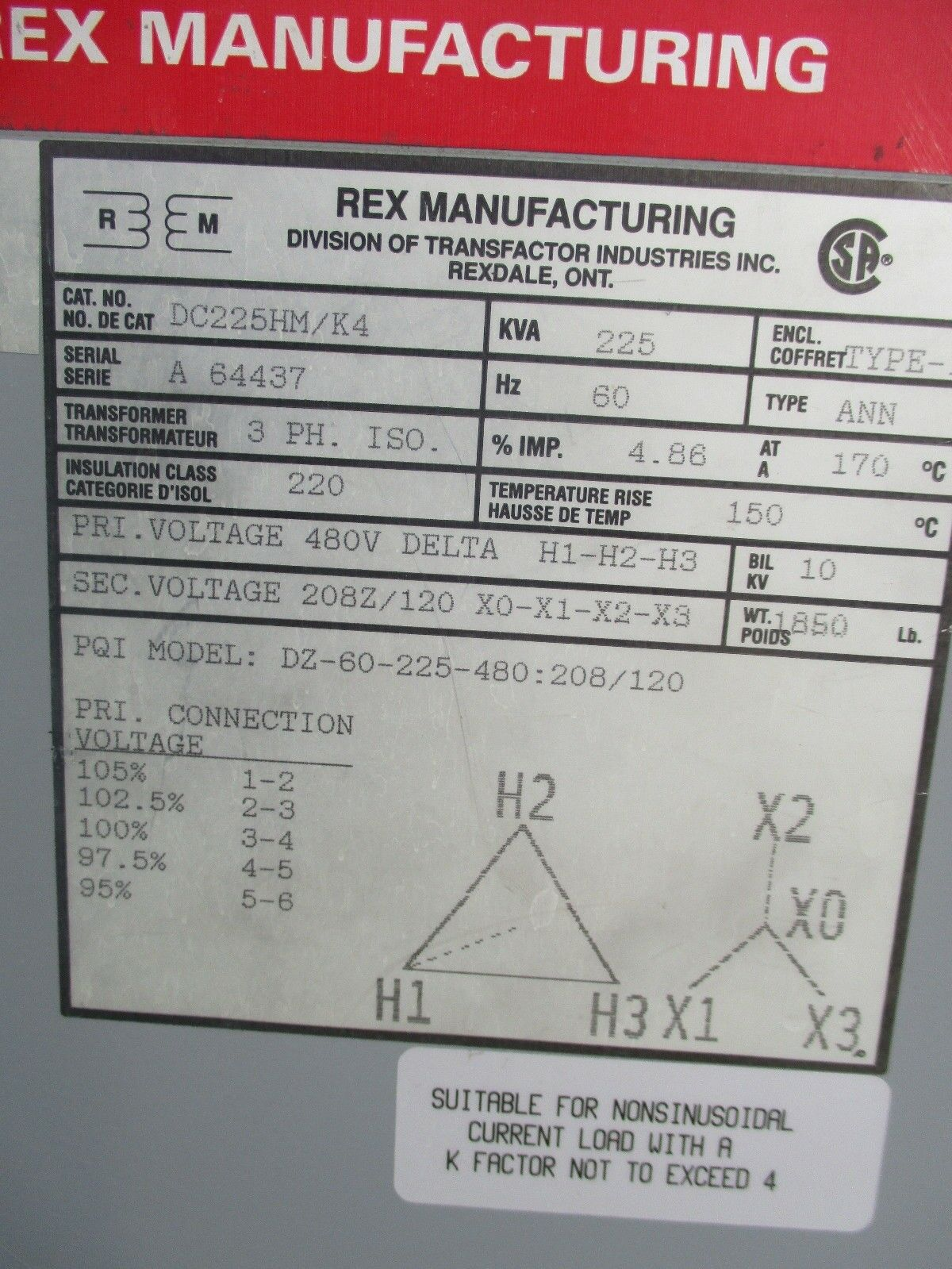 REX 225 KVA 3 Phase 480x120/208 Volt Transformer- T1186 ... Hammond Hps Universal Transformer Wiring Diagram on