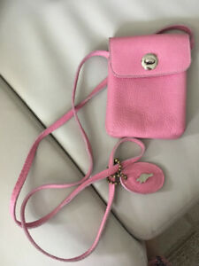 Beautiful pink ROOTS mini purse real leather