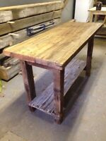 Table, ilot, banc, lit / bed, table with barn wood