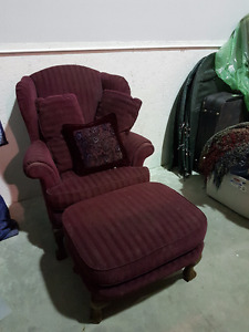 Beautiful burgundy antique chaise with foot stool