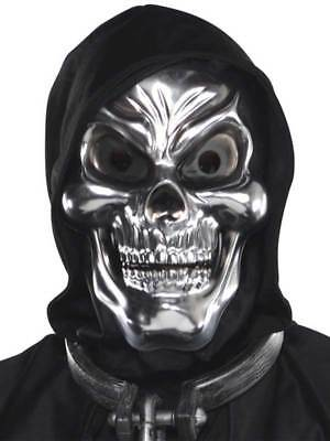 Adults Silver Skull Mask Fancy Dress Grim Reaper Skeleton Scary Ghost Halloween