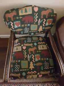 Wooden chair, carved, with new upholstery