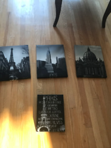 4 Pack Travel Themed Wall Art