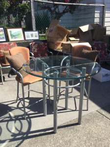 Glass top table w/ two bar stool chairs