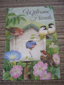 Large Welcome Friends Birdhouse with Birds Garden Flag