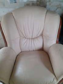 World of Leather cream armchair