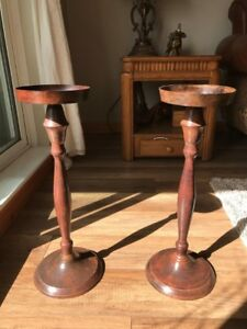 2 Metal Patina Candle Holders