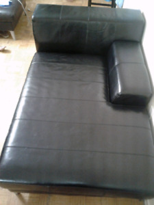 Ikea Black-brown Chaise Genuine leather.
