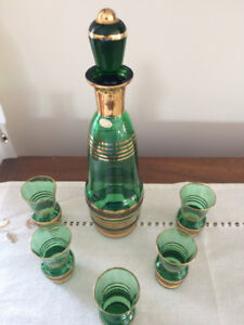 Vintage Green and Gold banded Decanter and Glasses