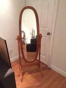 Full length wooden mirror with stand