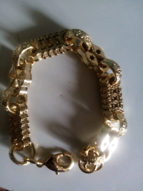 Gold filled luxury 3d bars and stars bracelet new 8to9inches