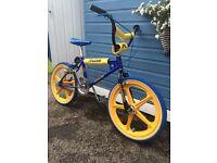 Raleigh Burner. MK1 Tuff Burner. Blue Yellow BMX Old School