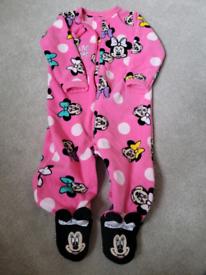 9-12 disney minnie mouse fleece sleepsuit coat all in one