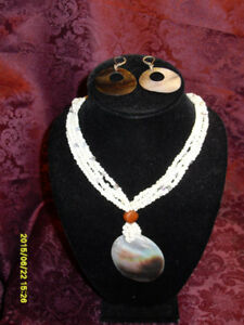 Avon Jewellery Set- Mother of Pearl Necklace and  earrings