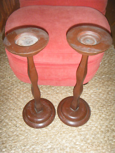 ANTIQUE WOODEN TALL  CANDLE STANDS