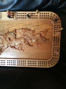 Crib Game Board with wood carved horses