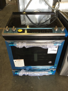 "30"" Unique Blue/Black Glass Top Stove"