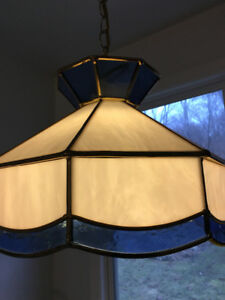 Stained glass hanging light with instal pieces