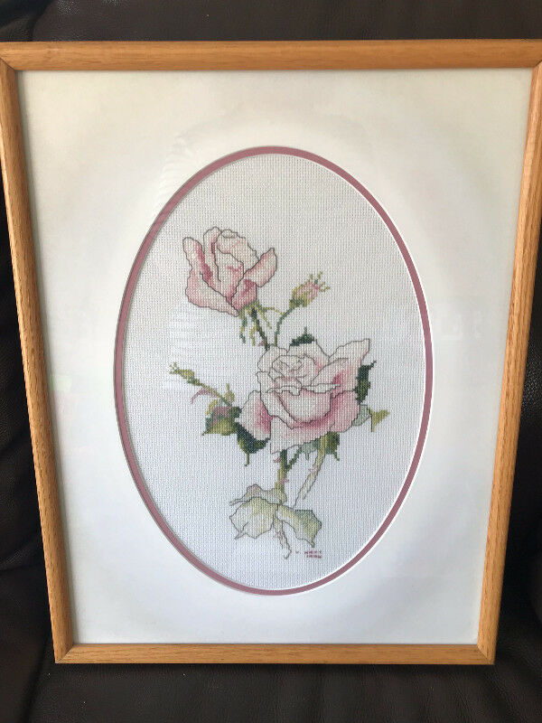 Pink Roses Framed Cross Stitch   Arts & Collectibles   Strathcona ...